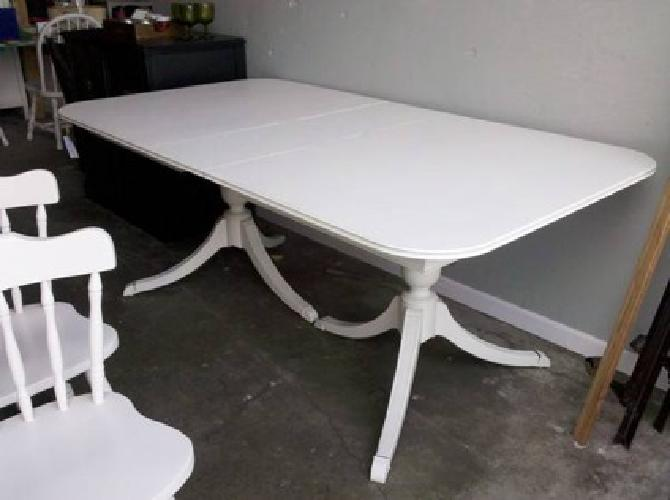 100 Double Pedestal Kitchen Table w inside leaf Antique