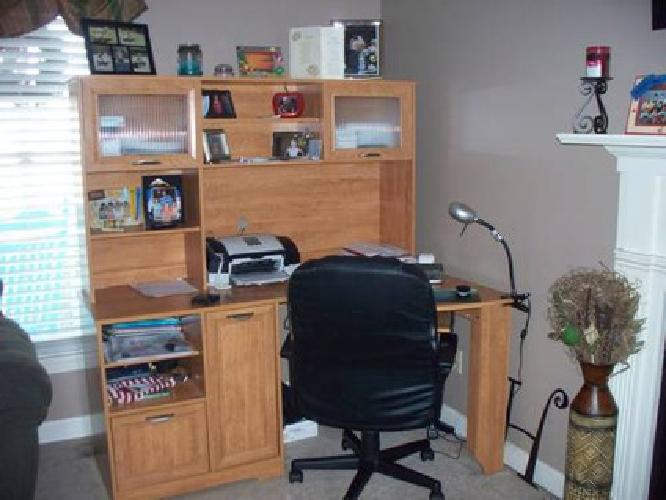 100 Large Corner Computer Desk With Hutch Honey Maple Office