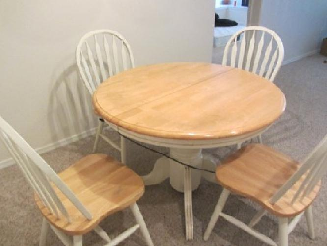 100 Obo Oak Wood Round Table And 4 Chairs For Sale In