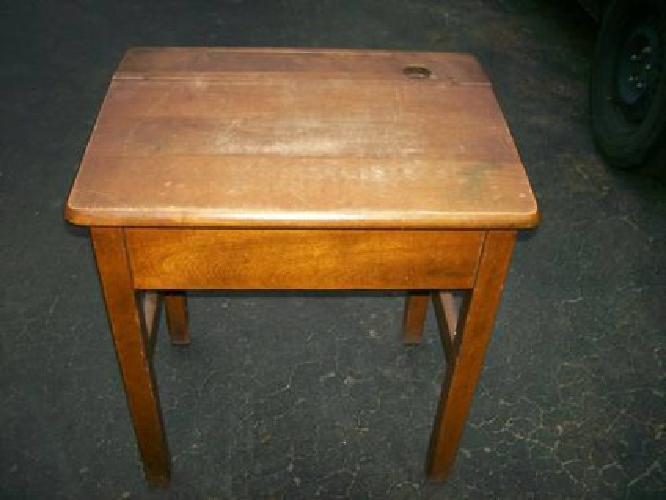 100 Vintage Antique Old School Desk All Wood Original Inside Out