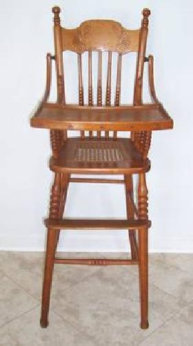 $100 Vintage Baby High Chair, Cane Seat