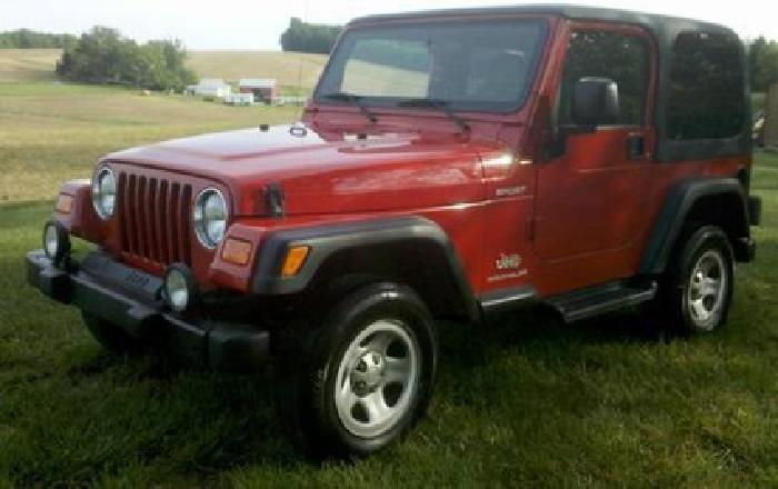 $10,000 2003 Jeep Wrangler Sport, 4x4, Red, Automatic, 4.0l 6cyl, MD Inspected