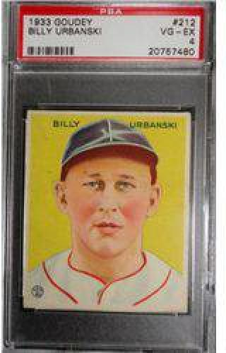 $10 1933 Goudey BILLY URBANSKI #212