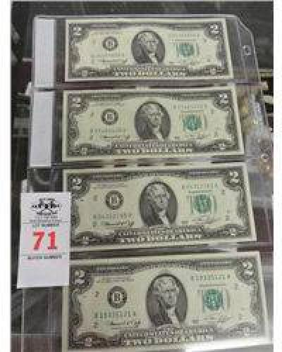 $10 4-Pack of $2 Notes - Cancelled Stamp on Backs