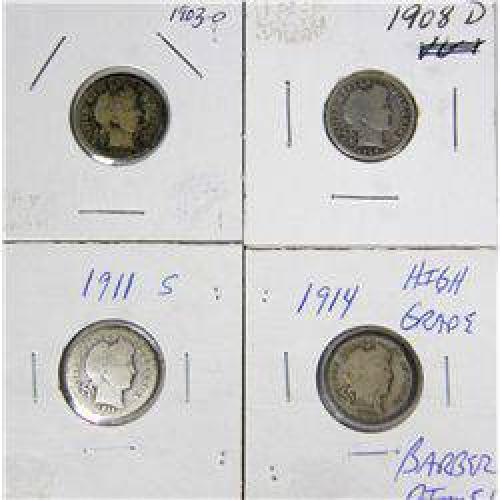$10 4 Barber Liberty Head Dimes-Lot