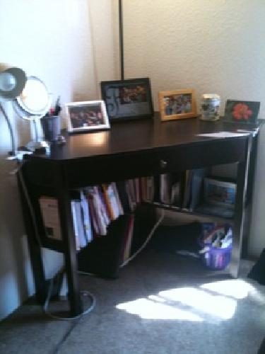 $120 OBO Corner desk (and computer chair) with pull out drawer and bottom shelves (black)