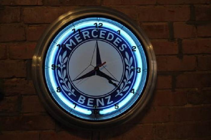 125 1950 style mercedes benz neon adv clock sign for sale for Mercedes benz sign for sale