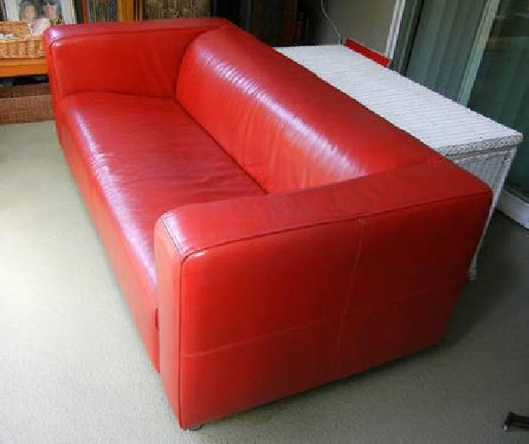 125 Ikea Leather Couch Red For Sale In Marina Del Rey