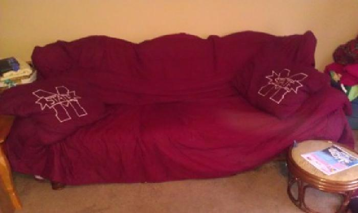 $125 OBO Couch with Maroon cover