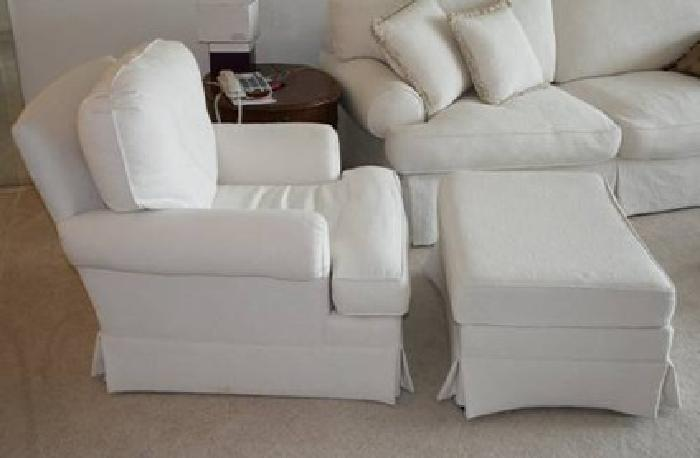 125 White Overstuffed Chair Amp Ottoman For Sale In Boca