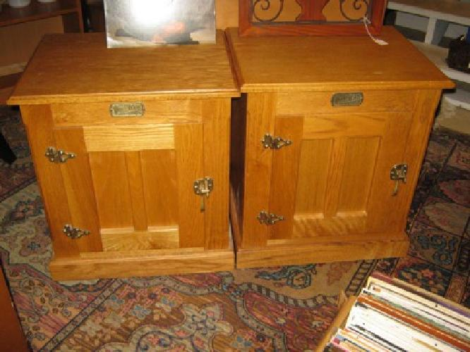 129 Pair Of Vintage Oak White Clad End Tables W Cupboards For Sale In Snohomish Washington