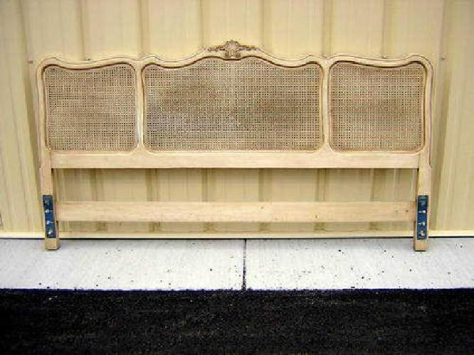 129 Vintage French King Size Bed Headboard W Cane Panels