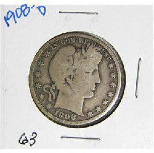 $12 1908-D Barber Liberty Head Half Dollar