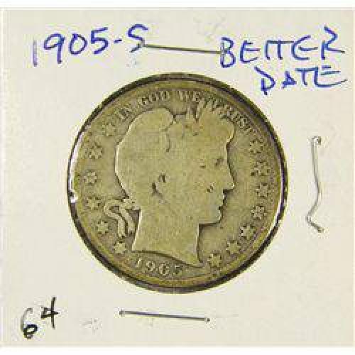 $12 Better Date 1905-S Barber Liberty Head Half Dollar