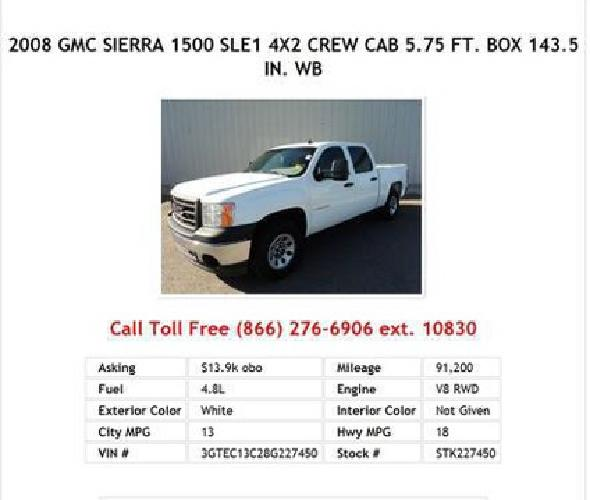 13 900 2008 gmc sierra 1500 sle1 white 4x2 crew cab ft box 143 5 in wb for sale in. Black Bedroom Furniture Sets. Home Design Ideas