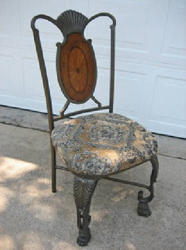 $150 5 Iron & Wood Dining Chairs (New Upholstery)