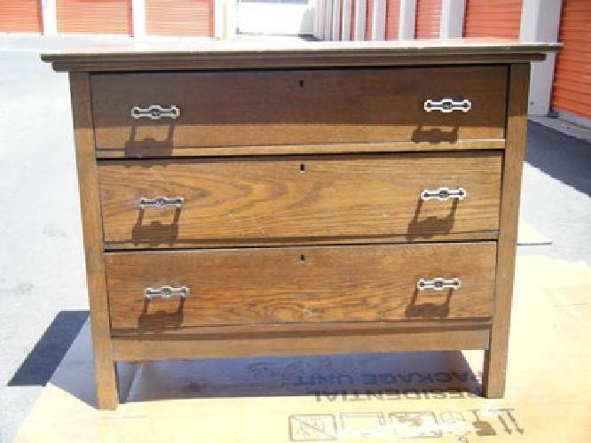 150 antique 1880s oak chest dresser 3 drawer wooden keyholes w locks for sale in. Black Bedroom Furniture Sets. Home Design Ideas