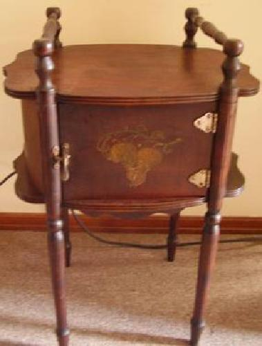 $150 Cushman Antique Humidor Smoker's Stand with copper lined cabinet