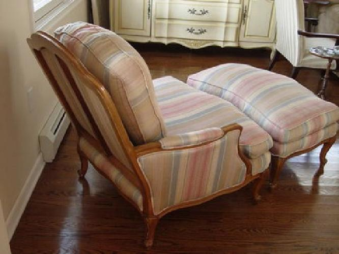 150 French Country Bergere Chair Amp Ottoman Like New Silk