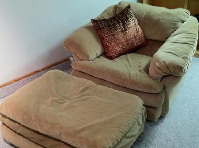 $150 OBO Overstuffed chair and matching ottoman for sale