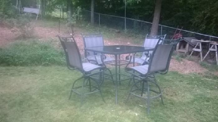 $150 Patio Furniture Metal- High Top Table & 4 Swivel Chairs