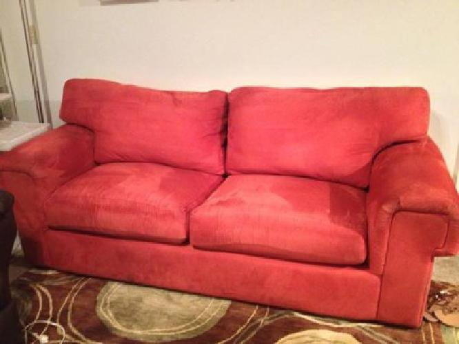 $150 REDUCED $150 Red La Z Boy Microfiber Couch w Sofa Bed MUST GO BY 9 21 for sale in