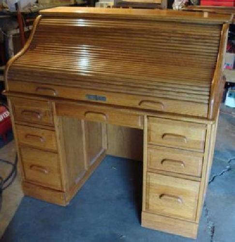 150 Solid Oak Crest Roll Top Locking Furniture Rolltop Desk