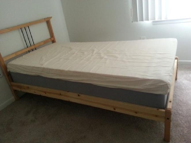 Ikea platform bed frame and memory foam mattress 300 for Twin bed frames for sale