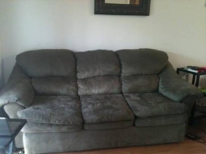 $150 Used Taupe Microfiber Sofa U0026 Solid Wood Storage Unit/Hutch