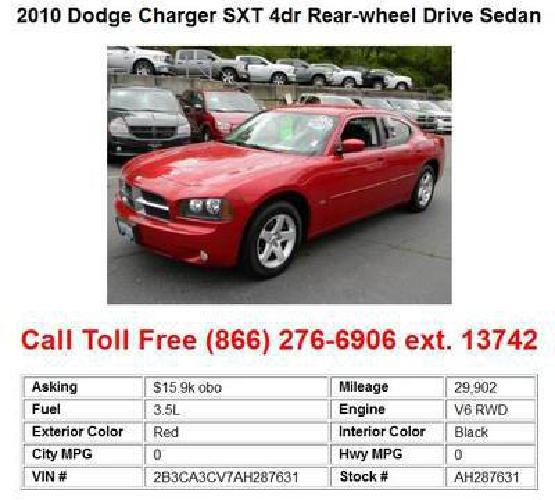 15 900 2010 dodge charger sxt red 4dr rear wheel drive sedan for sale in seattle washington. Black Bedroom Furniture Sets. Home Design Ideas
