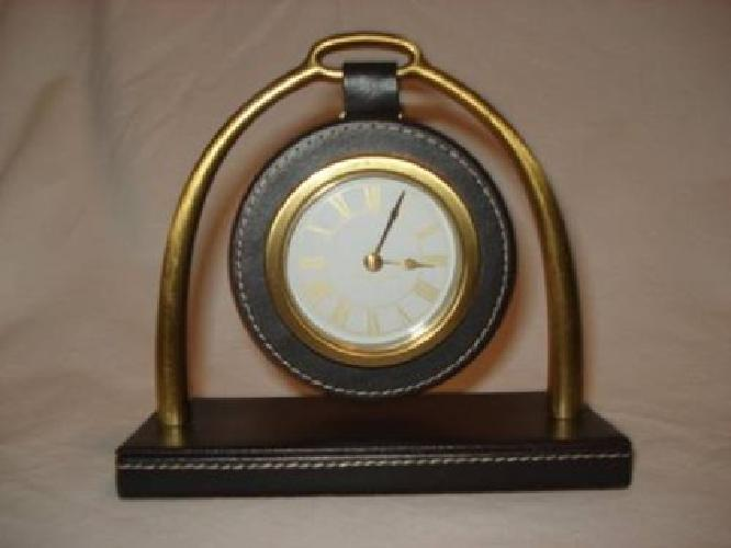 $15 Bedford Leather and Brass Desk Clock