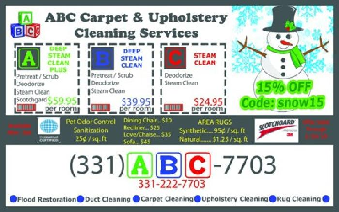 15% off Carpet Cleaning & ALL other Services! Holiday Deals Continue