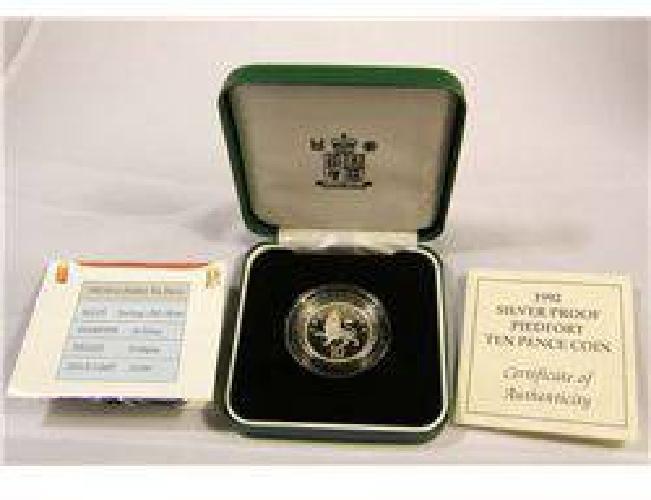 $15 Scarce 1992 Silver Proof Piedfort Ten Pence Coin