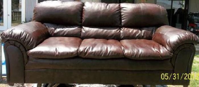 175 Brown Pleather Sofa Couch