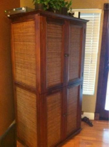 $175 OBO Pier 1 Wicker U0026 Wood Armoire TV Stand/ Cabinet