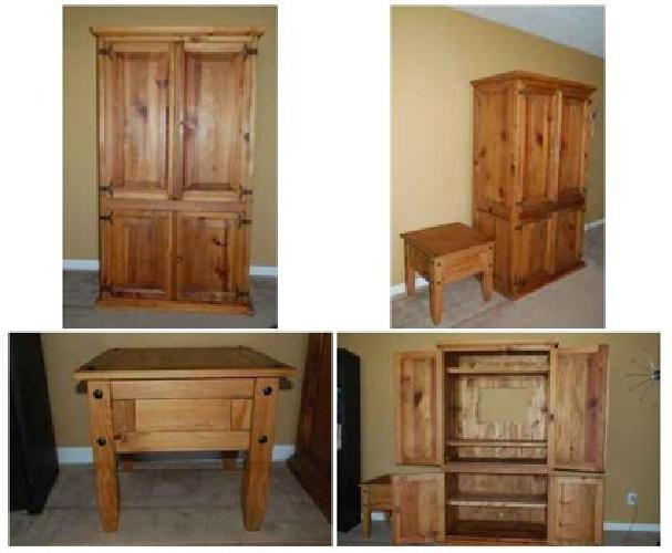 $175 Pier 1 Santa Fe Armoire And Side Table