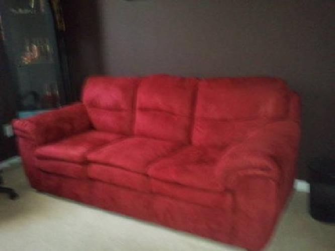 180 red couch sofa faux suede material for sale in santa for Suede couches for sale