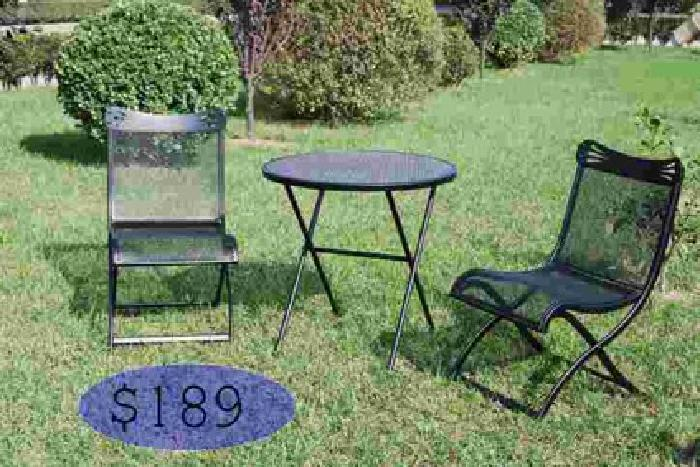 189 outdoor furniture 3 pc metal bistro by woodward for Outdoor furniture 78757