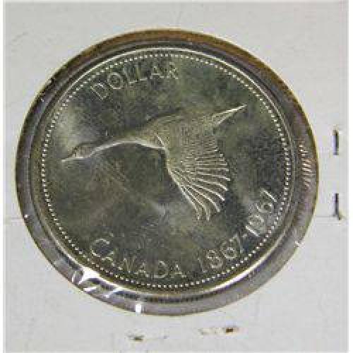 $18 1967 Canadian .800 Silver Dollar BU