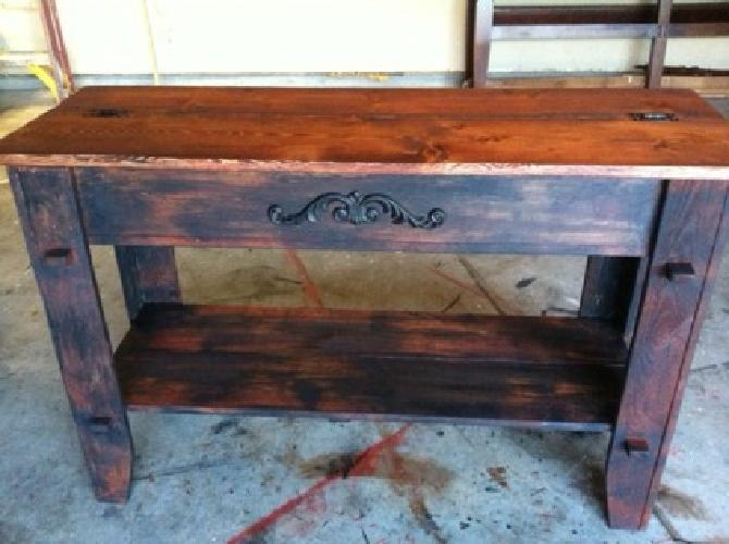 $199 OBO Beautiful solid wood distressed table with stained wood top that flips open for
