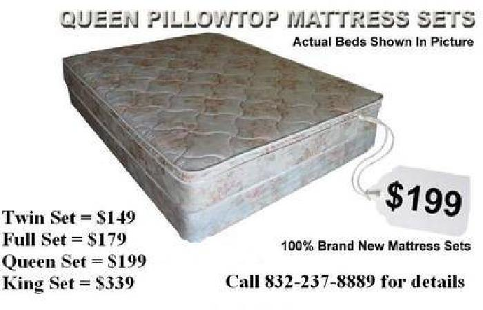 $199 Queen Pillow Top Mattress Set For Only $199 - Brand New Mattress