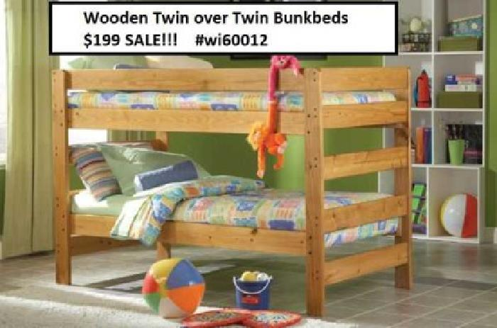 $199 Wooden Bunkbeds New Grand Opening Today for sale