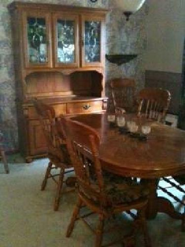 000oak dining room set table 6 chairs and china cabinet for sale
