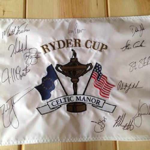 $1,000 Ryder cup Celtic Manor autographed flag