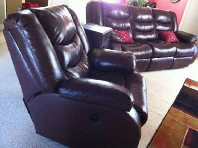 $1,100 Leather Sofa Couch & Chair -