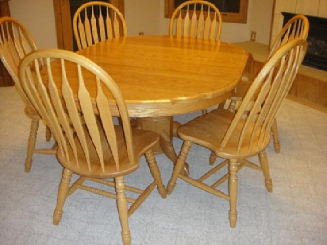 1 100 obo oak dining room table and 6 chairs for sale in