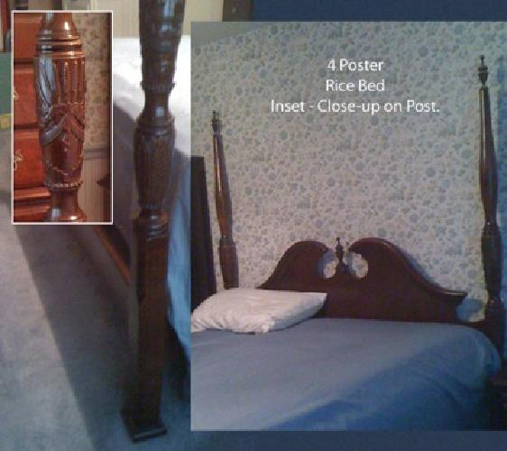 1 200 4 poster cherry rice bedroom set for sale in south