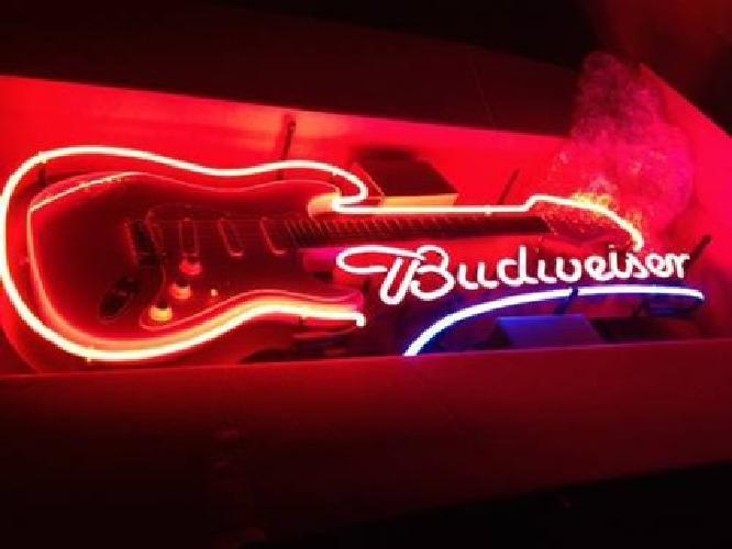 1 300 Budweiser Electric Guitar Beer Neon Light Bar Sign