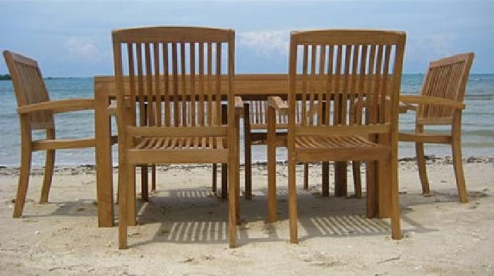 1 405 Sale 8pc Teak Wood Dining Set Stacking Chairs Patio Outdoor Furniture For Sale In