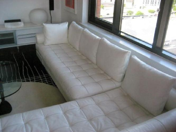 1,500 OBO leather sectional sofa/white leather for Sale in Jersey